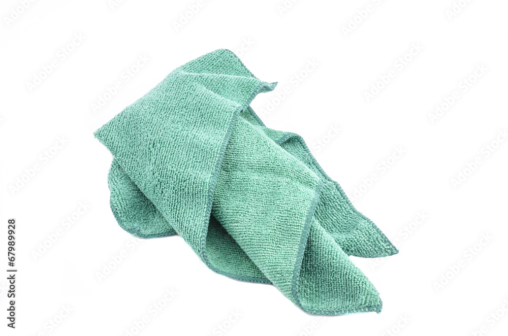 bf231026c Photo & Art Print Crumpled green microfiber cloth isolated on white ...