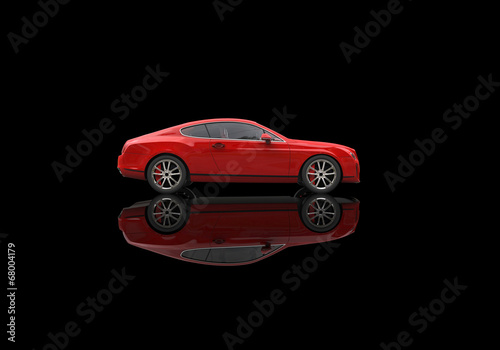 Red elegant car with ground reflections #68004179