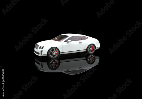 White elegant car with ground reflections #68004181