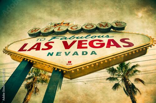 Foto op Aluminium Las Vegas Welcome to Las Vegas Sign with grunge texture