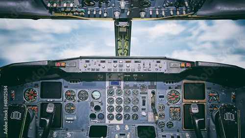 Fotografie, Tablou Aircraft dashboard. View inside the pilot's cabin.