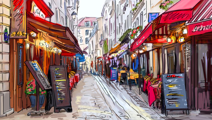 NaklejkaStreet in paris - illustration