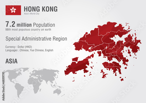 Hong Kong world map with a pixel diamond texture. – kaufen Sie diese ...