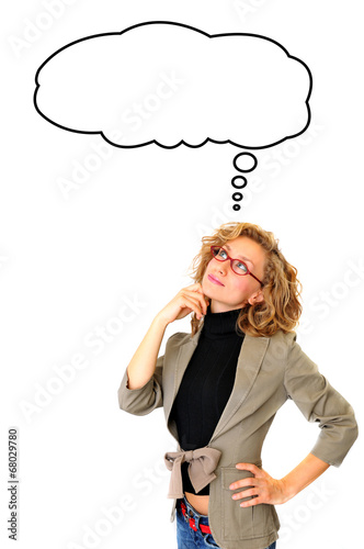Thoughtful Businesswoman With Blank Thought Bubble Buy