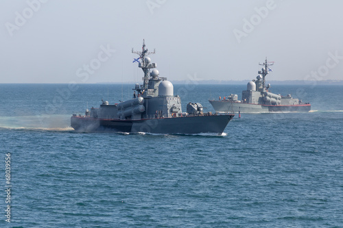 Two naval ships in the sea Canvas Print