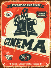 Grunge Retro Cinema Poster. Ve...