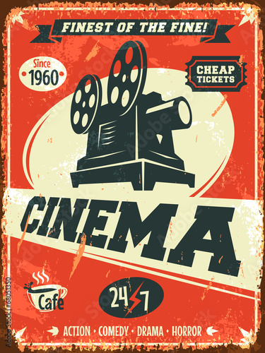 Grunge retro cinema poster. Vector illustration. Wallpaper Mural