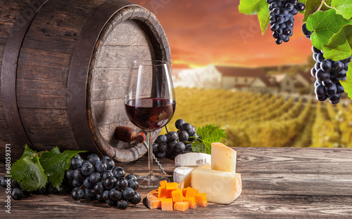 Foto op Canvas Chocoladebruin Red wine still life with vineyard on background