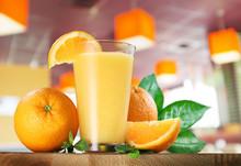 Orange Fruits And Glass Of Ora...