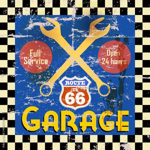 Vintage route 66 garage workshop sign, vector