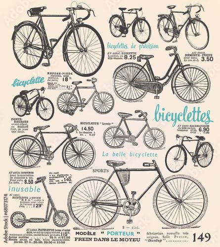 Deurstickers Kranten Bike poster with french text