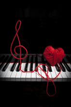 Piano Keyboard With Treble Clef And Heart