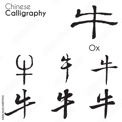 Ox Character In Different Kind Of Chinese Calligraphy Buy This