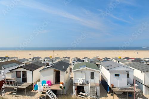 Obraz na plátně  Beach huts in Holland