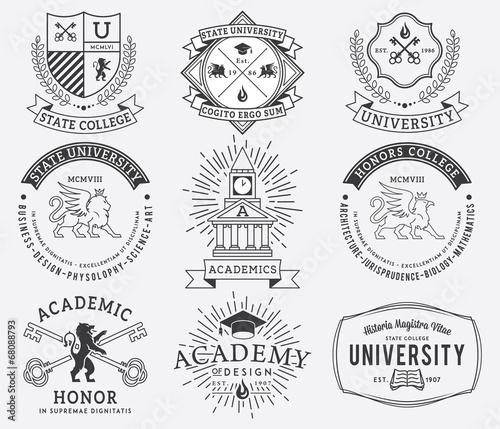 Fotografia, Obraz College and University badges 2 Black on White