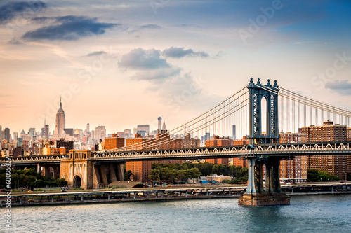 Printed kitchen splashbacks Brooklyn Bridge Manhattan Bridge and the New York skyline before sunset