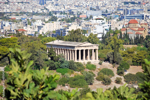 Fotobehang Athene Temple of Hephaestus and Athens city