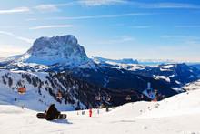 Ski Lift And View Of Dolomites Mountains, Italy