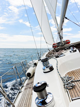 Yacht Is Tacking In Adriatic S...