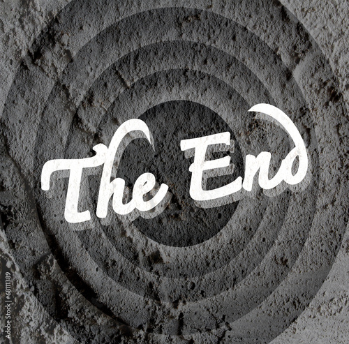 Fotografie, Obraz  the end Movie ending screen on Cement wall texture background
