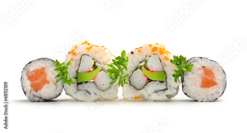 Foto op Plexiglas Sushi bar salmon sushi maki and california rolls