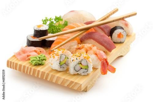 Deurstickers Sushi bar japanese sushi plate