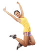 Fitness woman jumping of joy.
