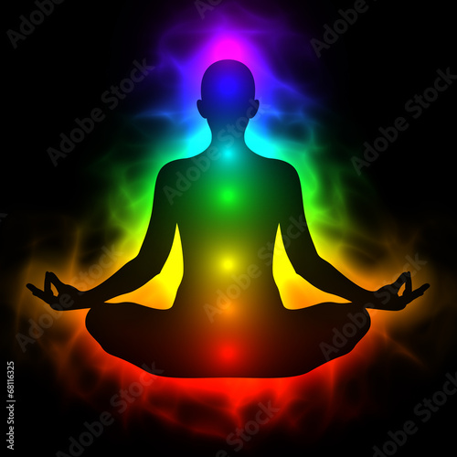 Canvas Print Human energy body, aura, chakra in meditation