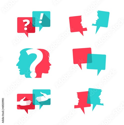 Cuadros en Lienzo  Set of speech bubbles with people and question mark
