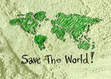 Love Globe Earth  Idea On Cement Wall Texture Background Design