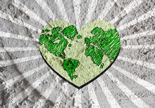 Love Globe Earth  Idea On Cement Wall Texture Background Design