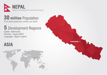Nepal World Map With A Pixel D...