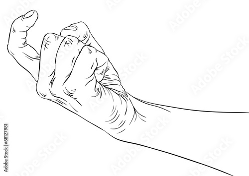 Photo  Come on hand sign, detailed black and white lines vector