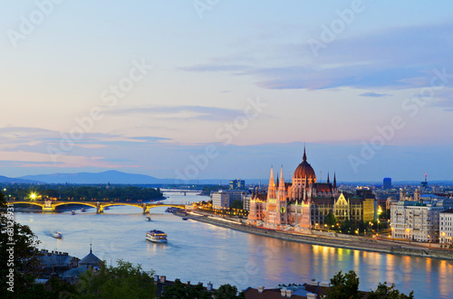 The Hungarian Parliament Building by the Danube River Poster