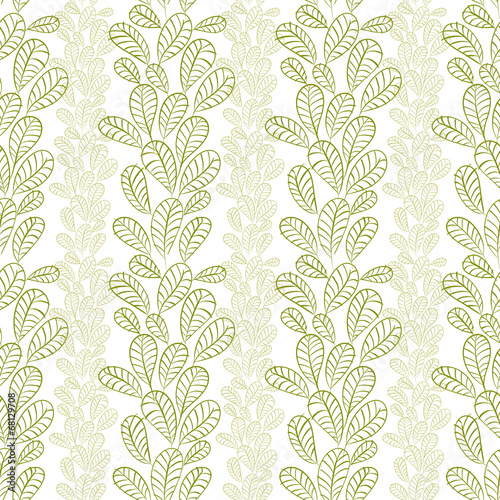 Seamless leaves pattern, floral wallpaper, hand drawn, vector.