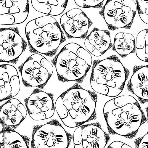Funny faces seamless background, black and white