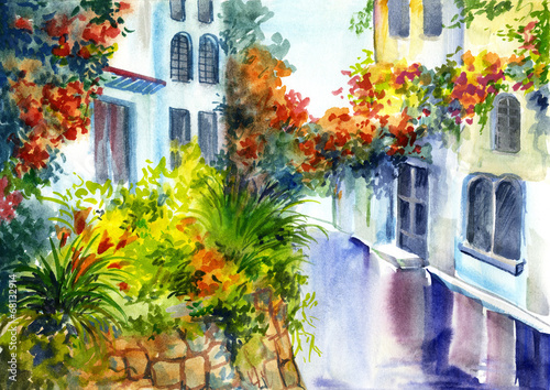 Obraz w ramie watercolor painting - flowers near the house