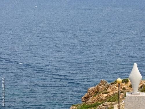 Fotografie, Obraz  Virgin Statue in front of the mediterranean sea in Santa Teresa