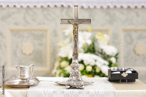 Fotomural Baptism accessories prepared for ceremony