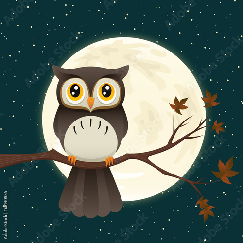 Deurstickers Uilen cartoon Owl At Night