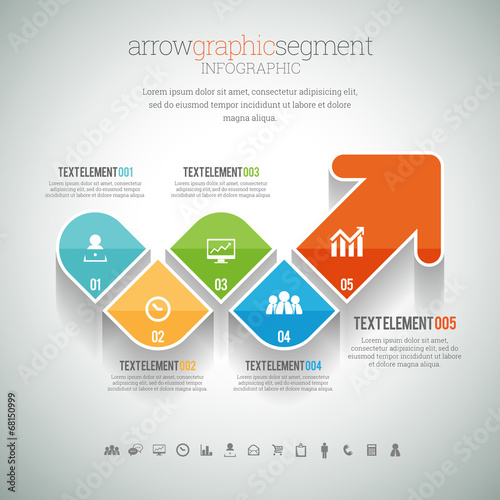 Fotografie, Tablou  Arrow Graphic Segment Infographic