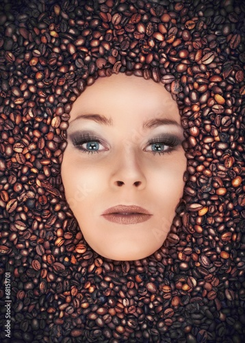 Photo Stands Coffee beans Girl immersed in coffee beans