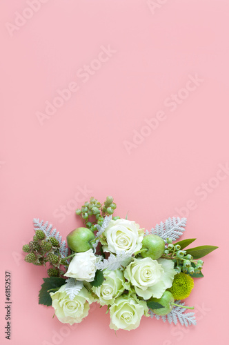 Canvas Print バラ 木の実 ブーケ 背景素材
