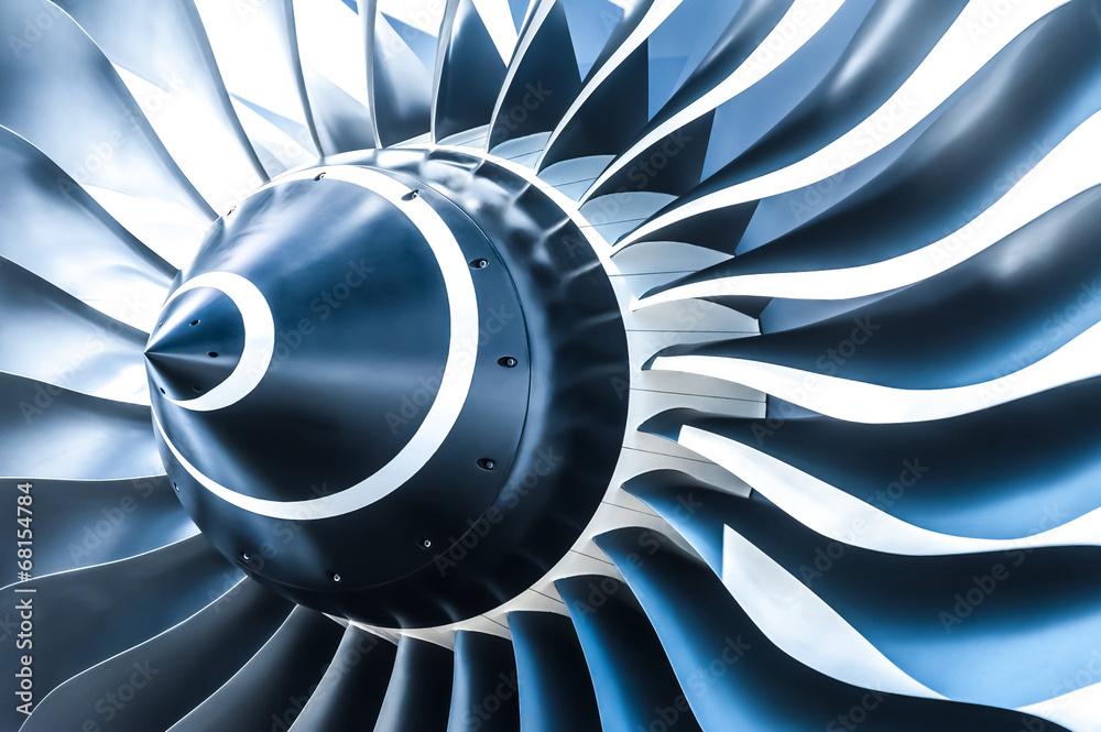 Fototapety, obrazy: blue toned jet engine blades closeup