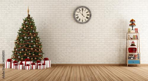 In de dag Retro Vintage room with christmas tree