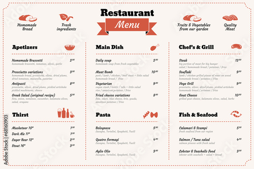 Fototapeta restaurant food menu design template obraz