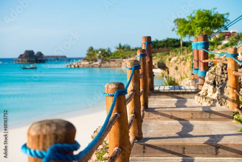 Printed kitchen splashbacks Zanzibar bridge on the beach