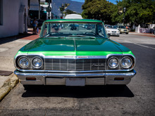 Classic Chevrolet In Green Serving As A Taxi In Santa Barbara, C