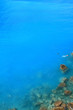 Blue deep water background with wet rocks