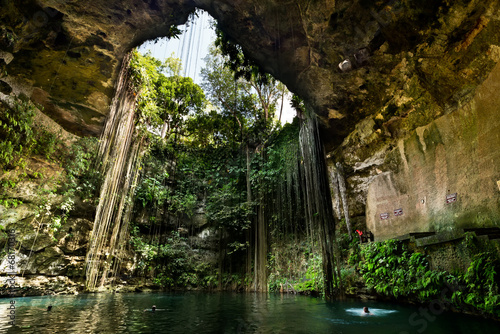 Wall Murals Mexico Ik-Kil Cenote near Chichen Itza in Mexico